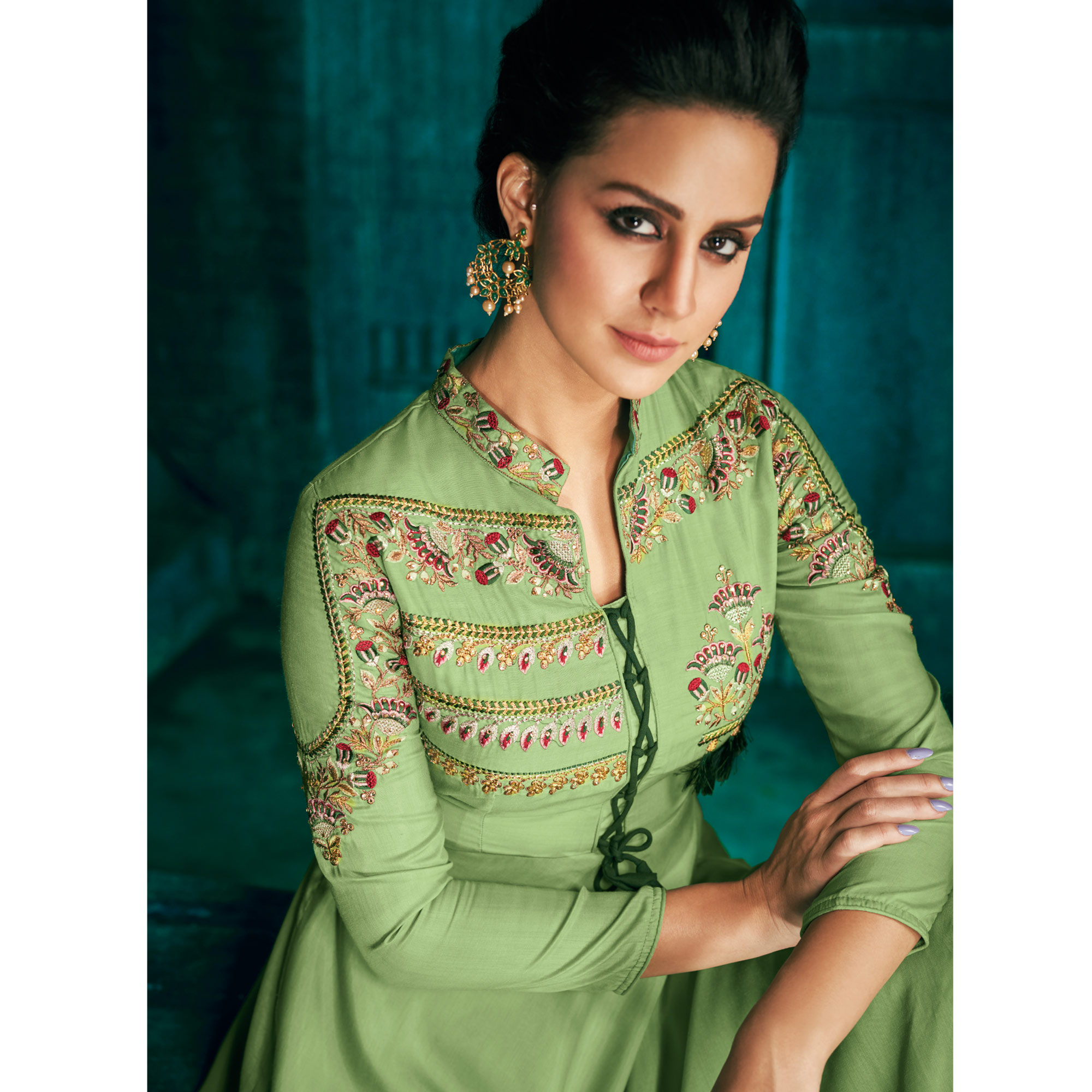 Bold Light Green Colored Partywear Embroidered Cotton Palazzo Suit