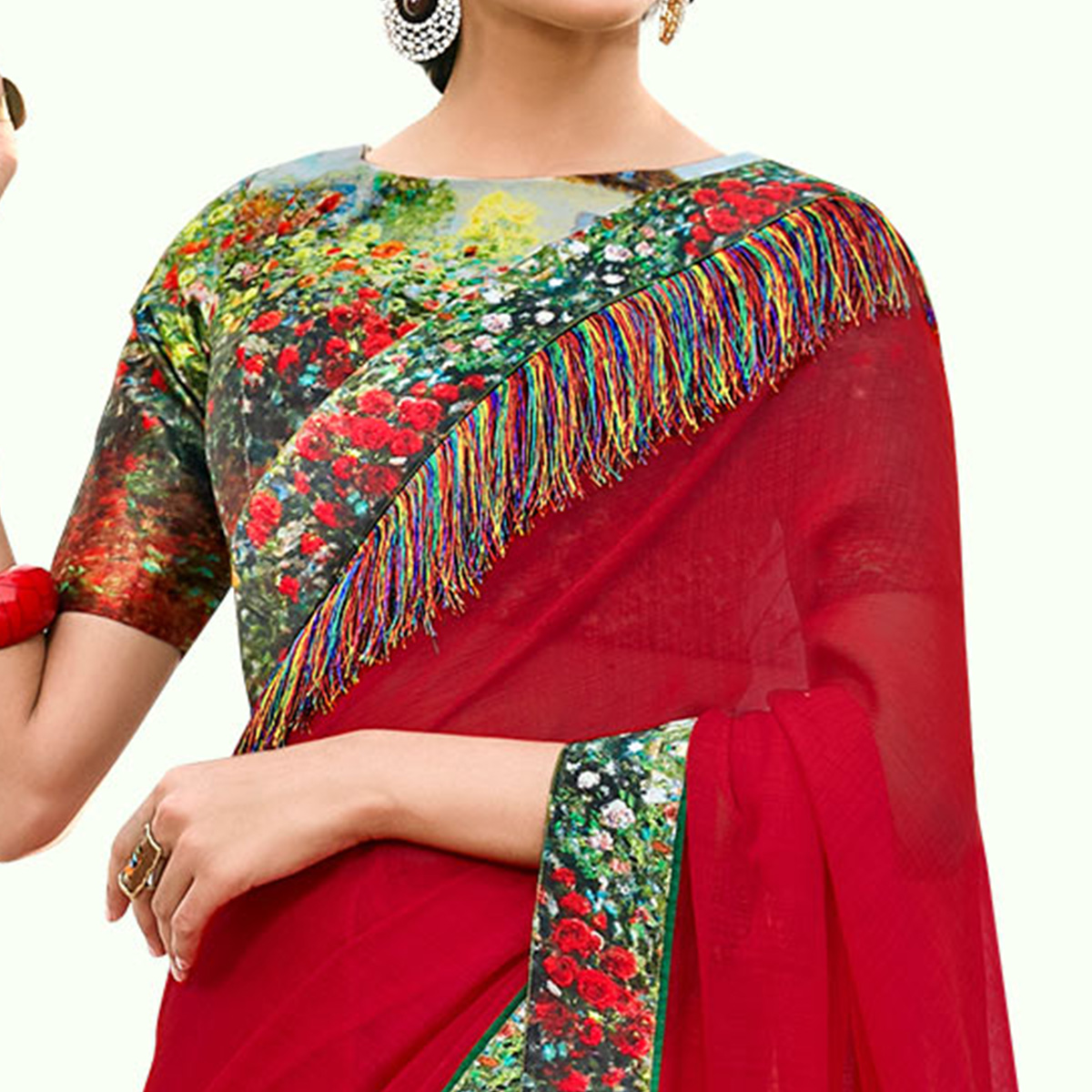 Innovative Red Colored Partywear Digital Printed Chiffon Saree