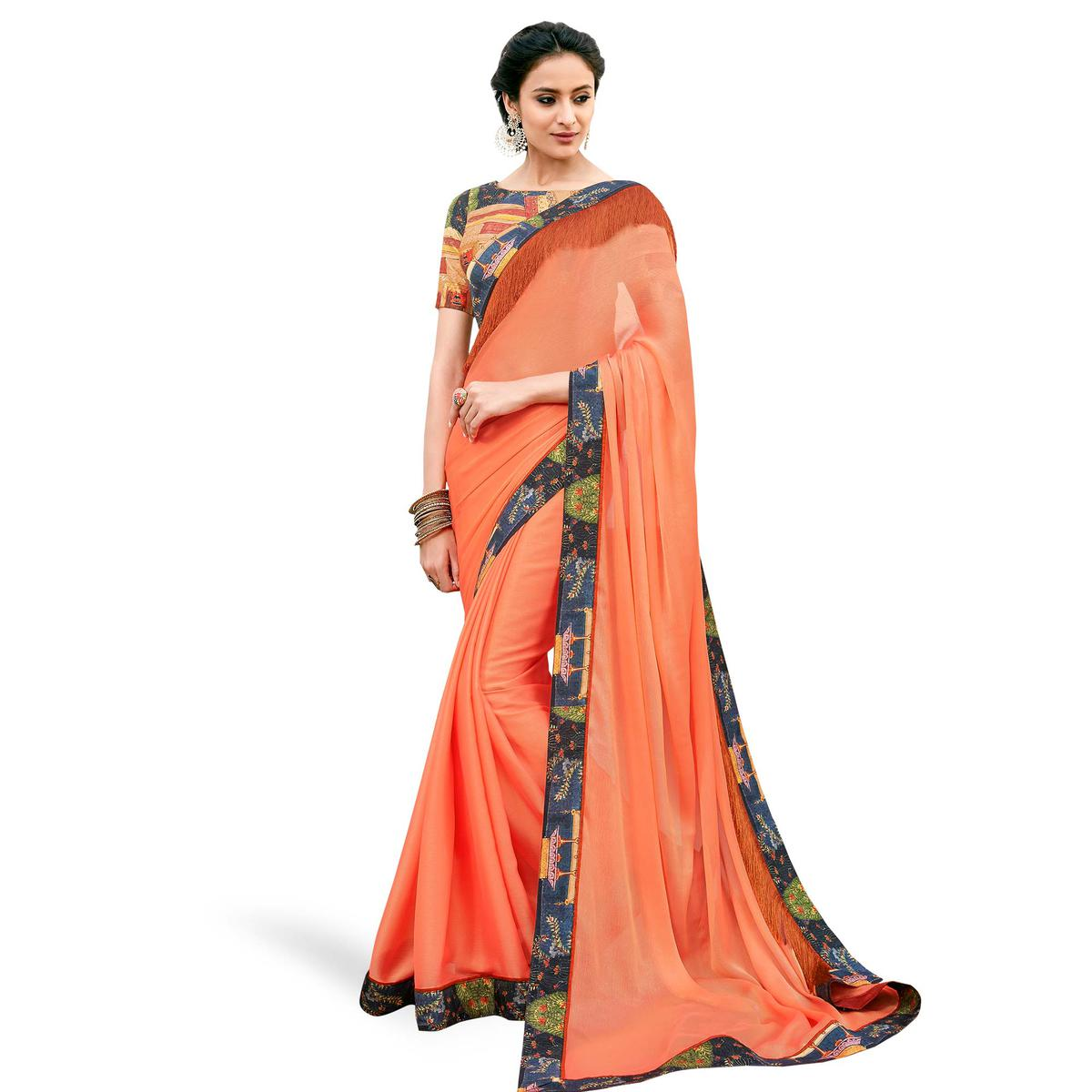 Eye-catching Peach Colored Partywear Digital Printed Chiffon Saree