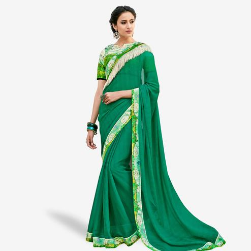 Fantastic Turquoise Green Colored Partywear Digital Printed Chiffon Saree