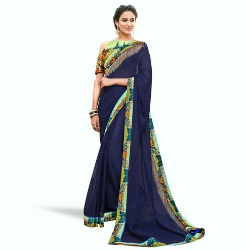 Amazing Navy Blue Colored Partywear Digital Printed Chiffon Saree