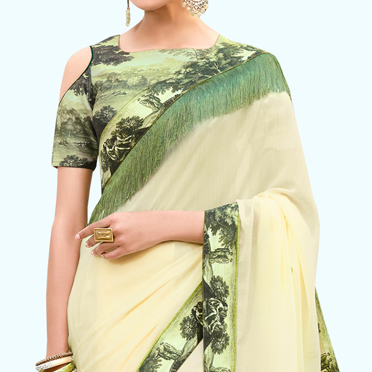 Gorgeous Cream Colored Partywear Digital Printed Chiffon Saree