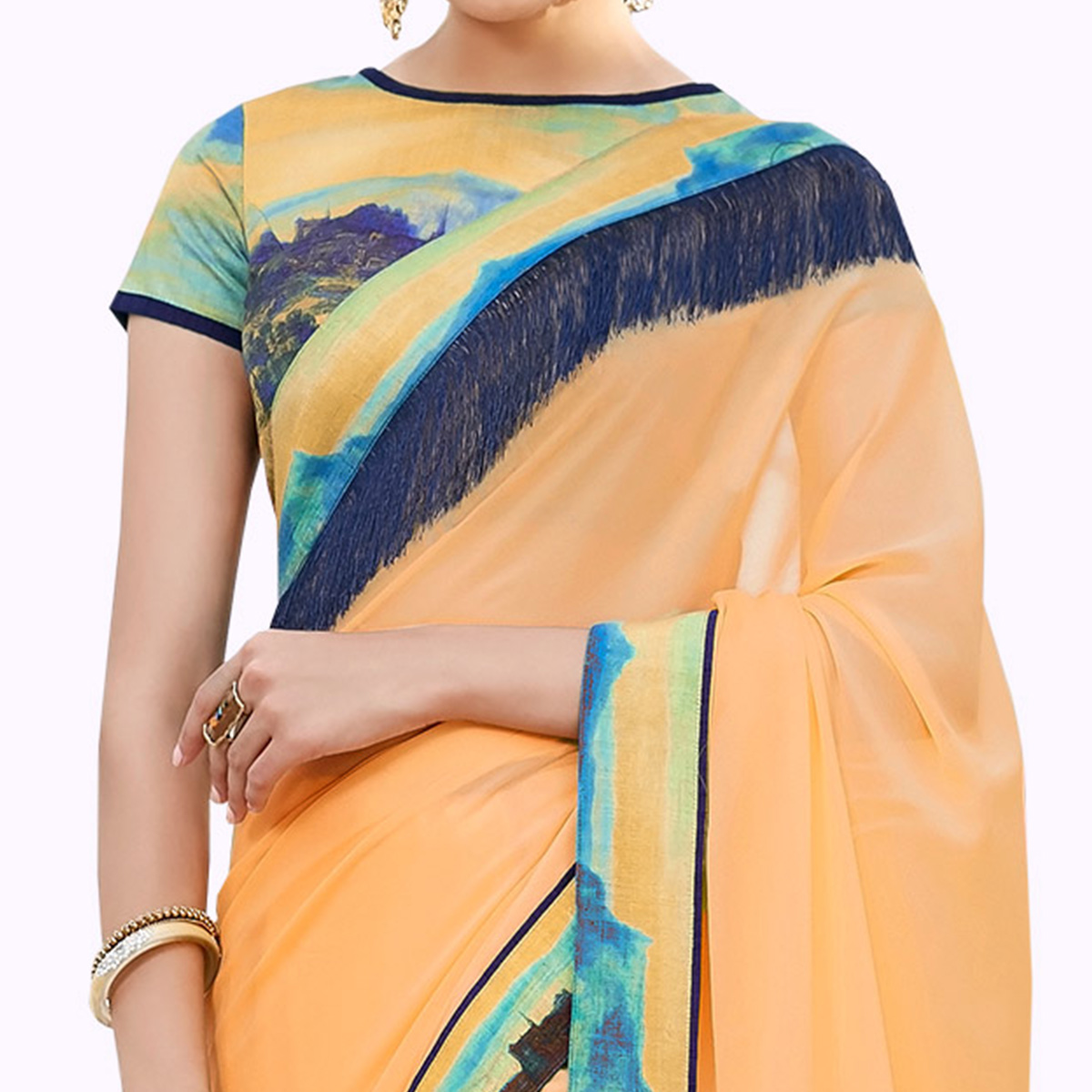 Blissful Pastel Orange Colored Partywear Digital Printed Chiffon Saree
