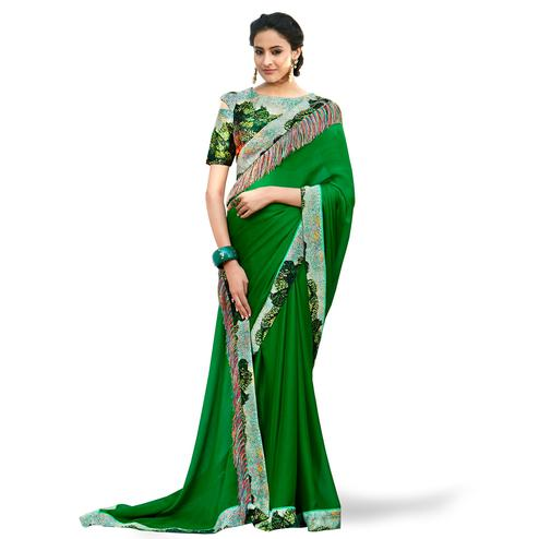 Imposing Dark Green Colored Partywear Digital Printed Chiffon Saree