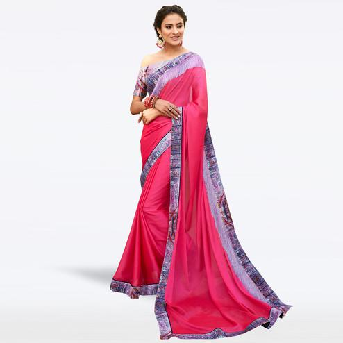 Pleasant Pink Colored Partywear Digital Printed Chiffon Saree