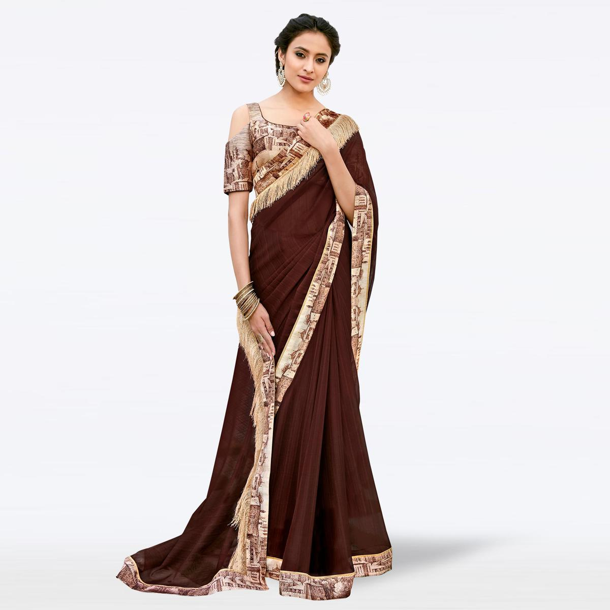 Elegant Brown Colored Partywear Digital Printed Chiffon Saree