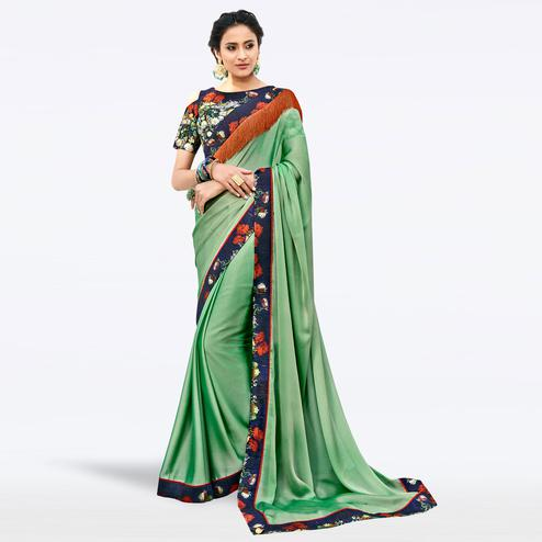 Radiant Green Colored Partywear Digital Printed Chiffon Saree