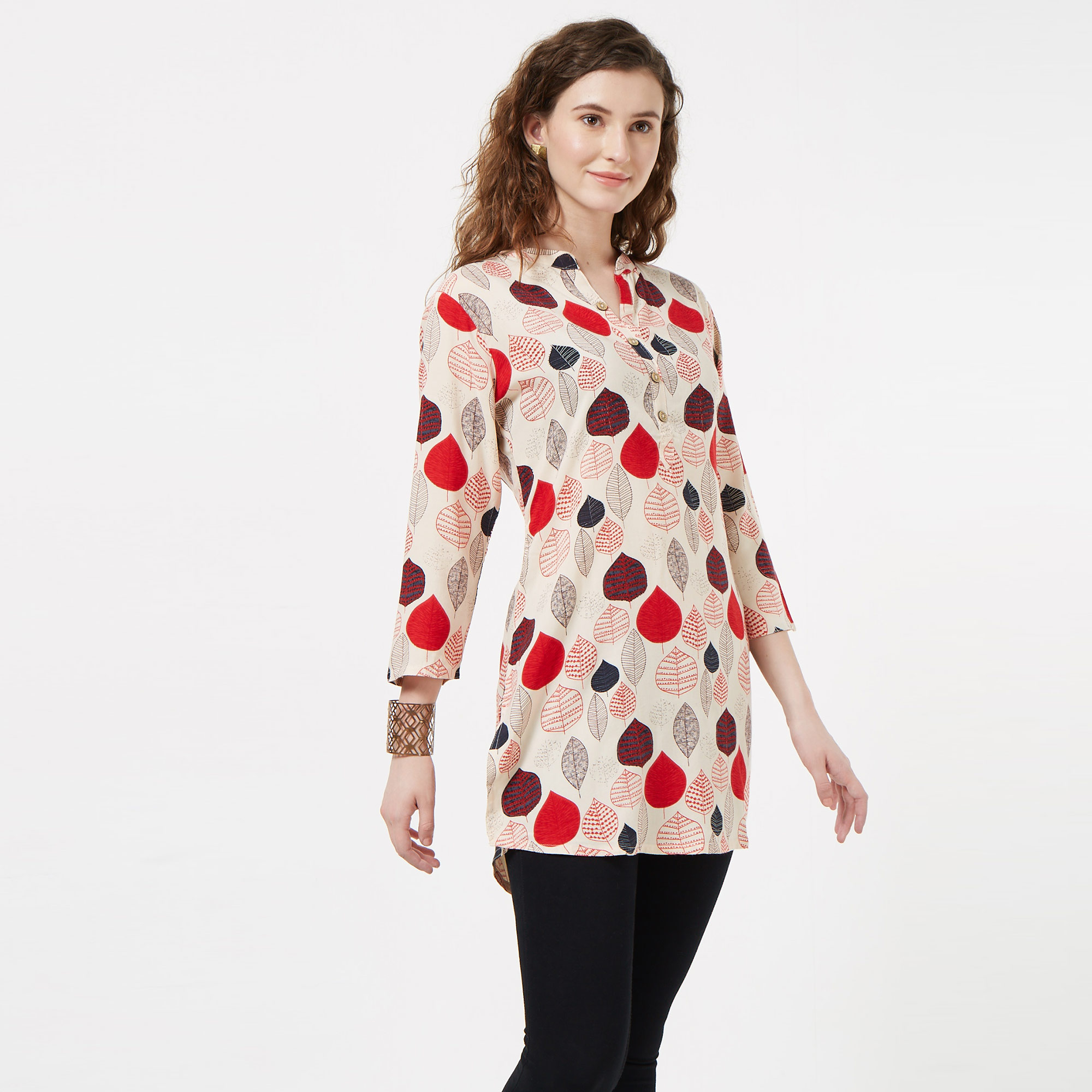 Classy Off White Colored Casual Printed Rayon Top