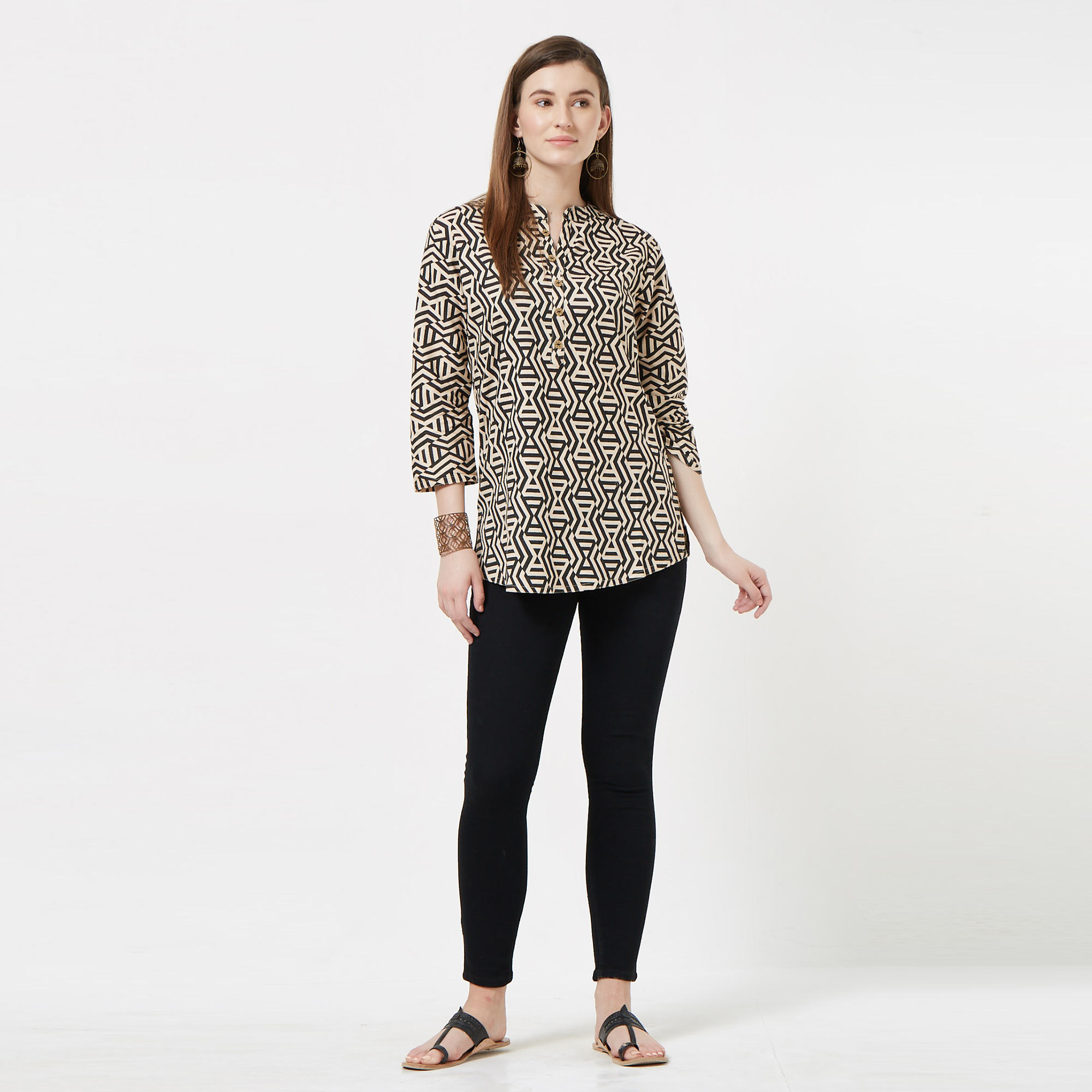 Trendy Black-White Colored Casual Printed Cotton top
