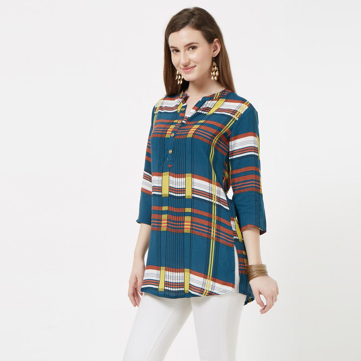 Favorite Blue Colored Casual Printed Rayon Top