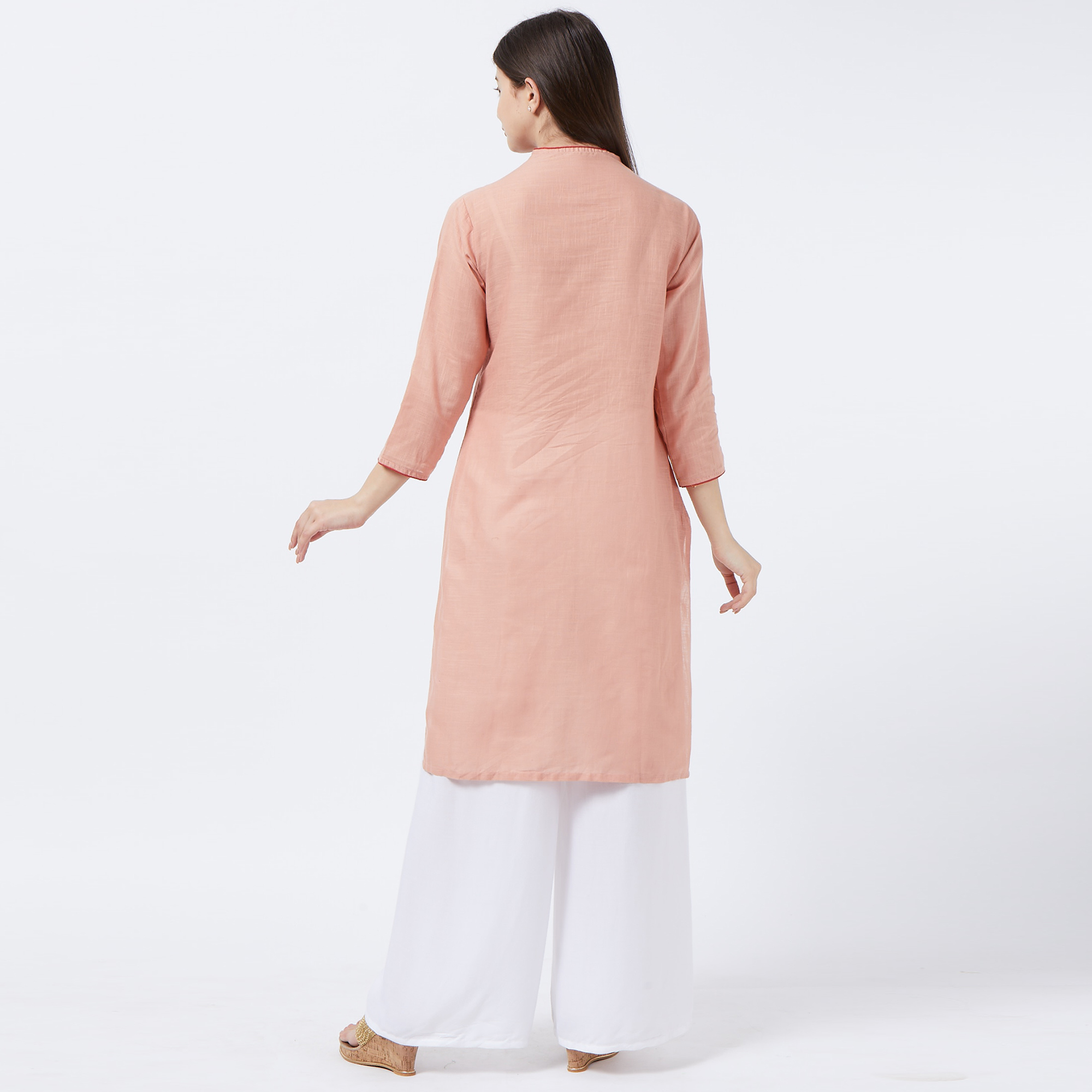 Eye-catching Peach Colored Casual Embroidered Cotton Kurti