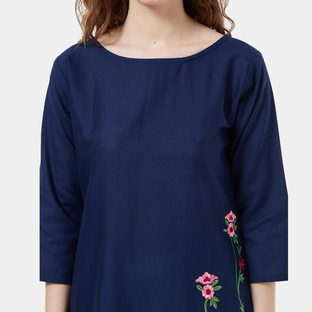 Special Navy Blue Colored Partywear Embroidered Cotton Tussar Kurti