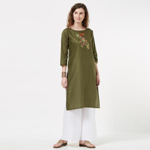 Classy Olive Green Colored Partywear Embroidered Cotton Tussar Kurti