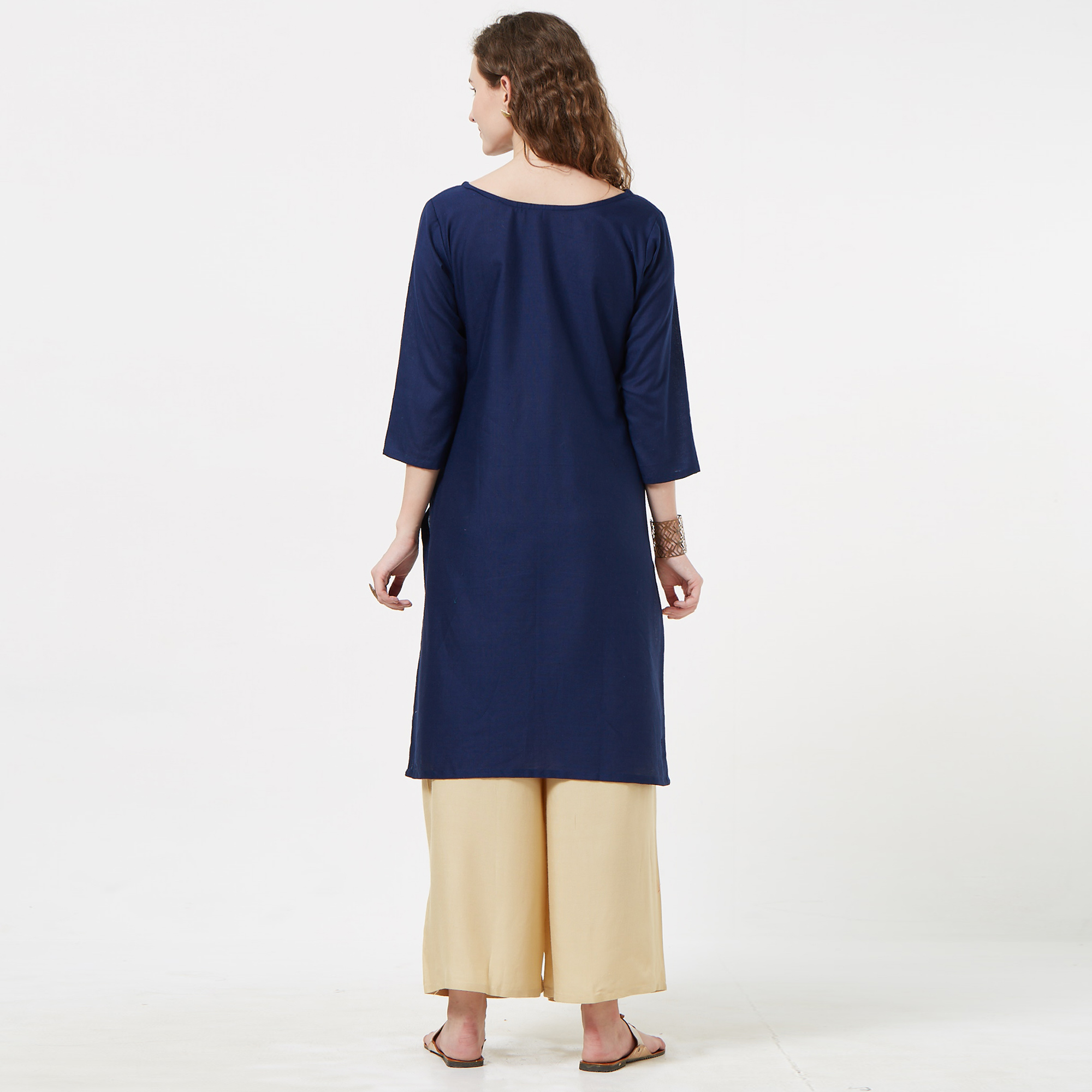 Demanding Navy Blue Colored Partywear Embroidered Cotton Tussar Kurti