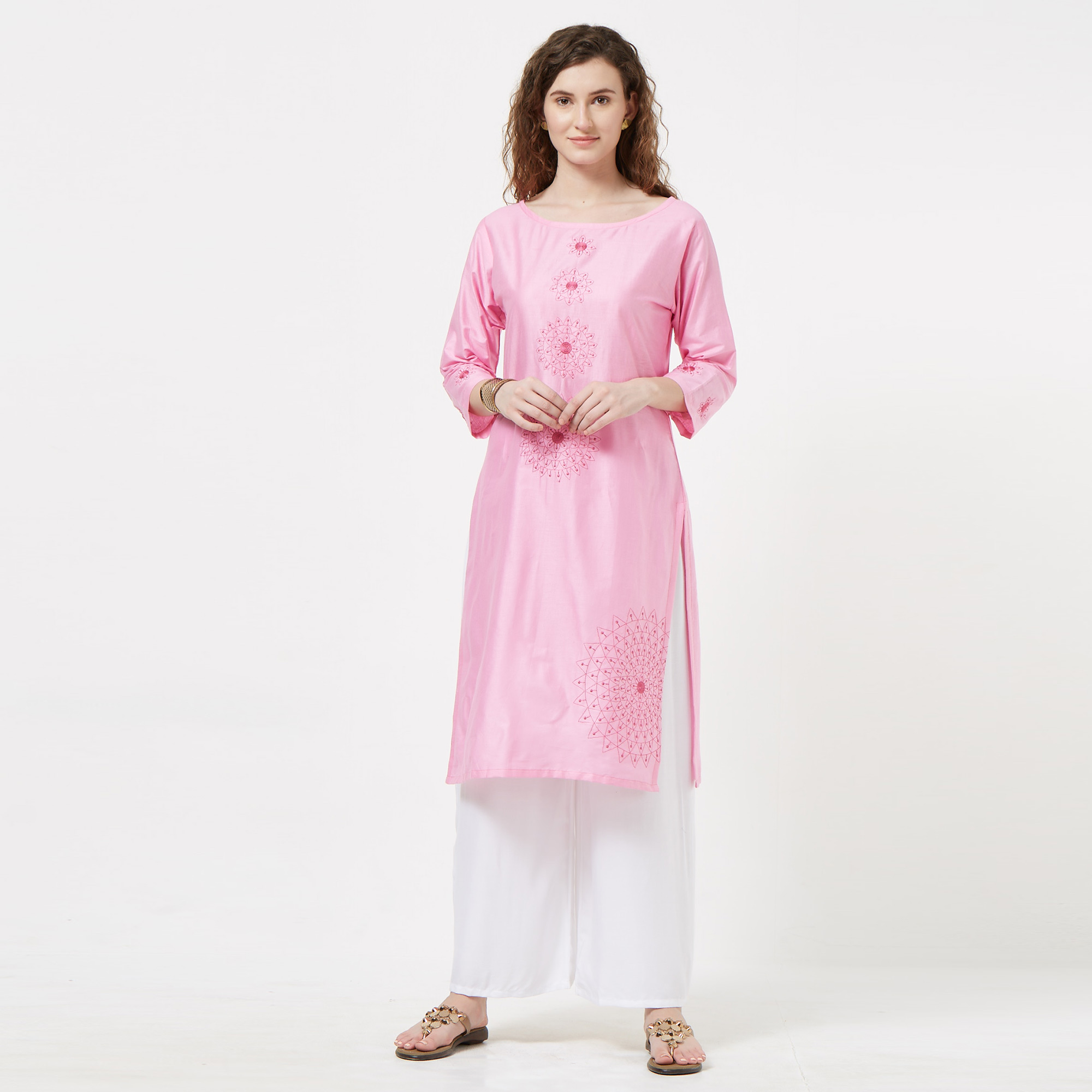 Lovely Pink Colored Partywear Embroidered Cotton Glace Kurti
