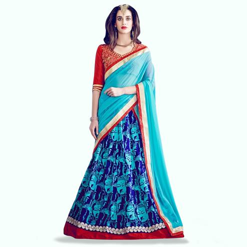Glorious Blue-Red Colored Partywear Printed Banglori Silk Lehenga