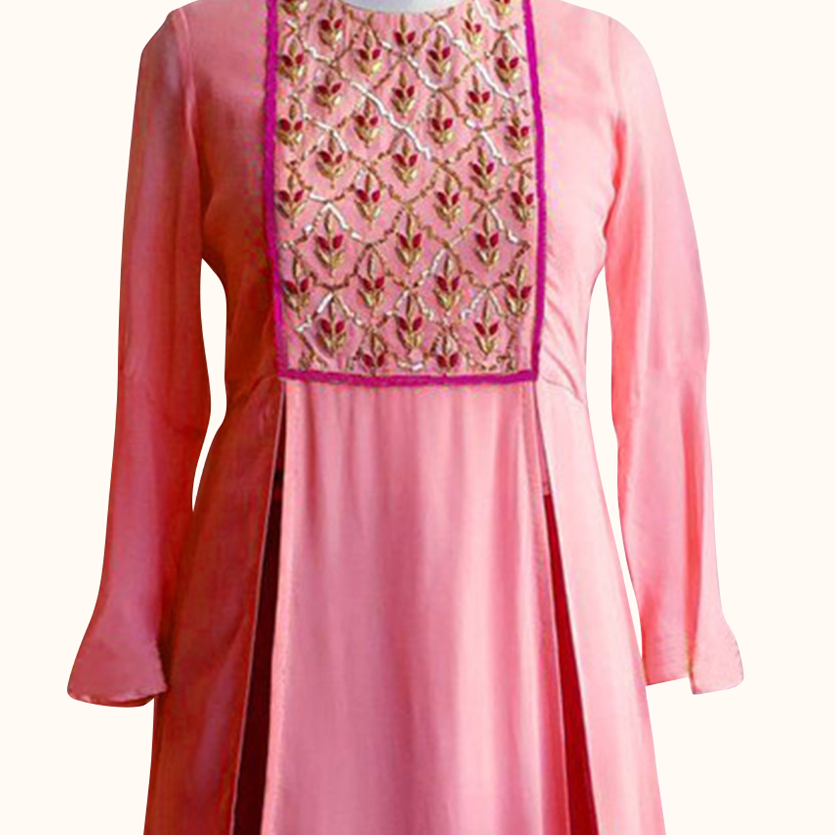 Capricious Pink Colored Partywear Embroidered Georgette Kurti