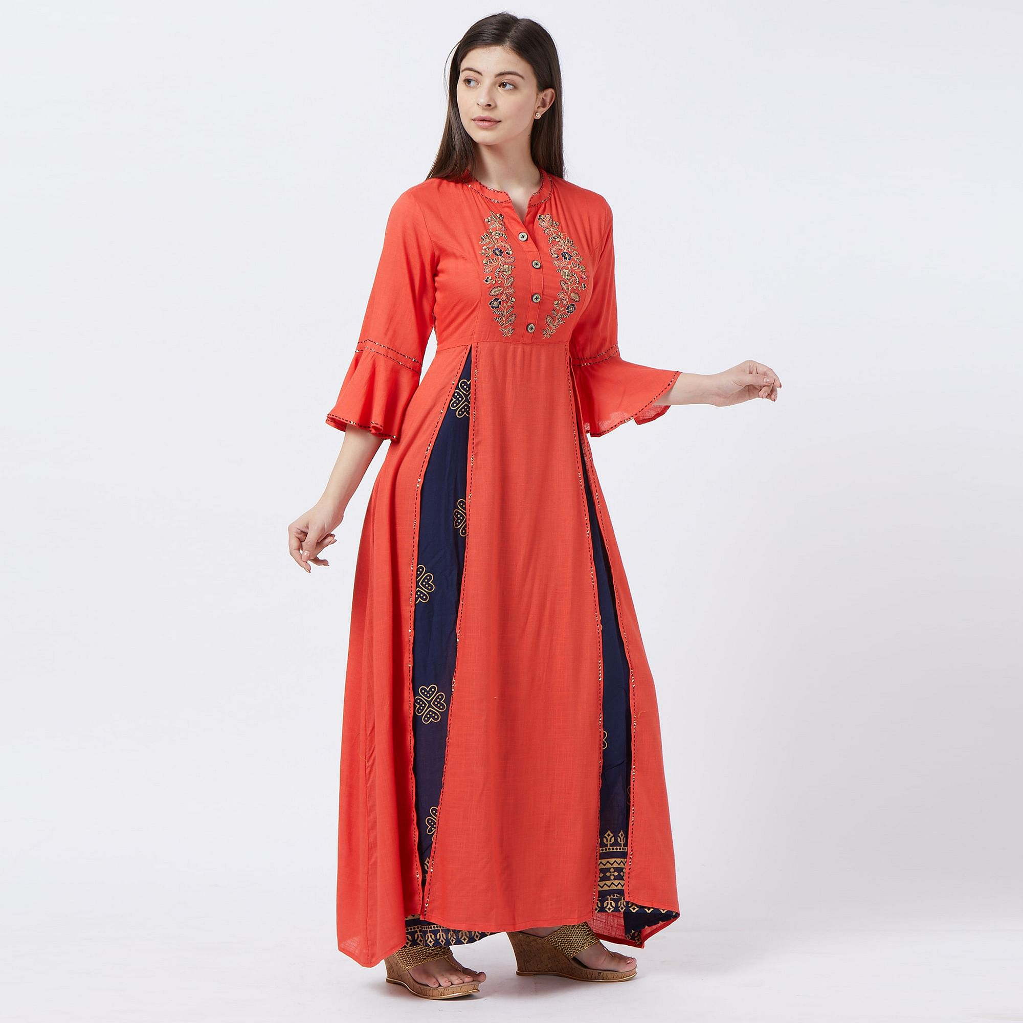 Desirable Orange-Blue Colored Partywear Embroidered Rayon Long Kurti