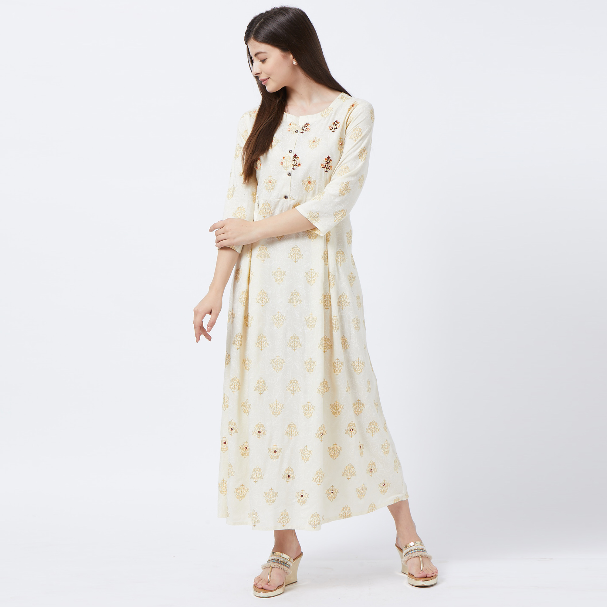 Alluring White Colored Partywear Embroidered Rayon Long Kurti