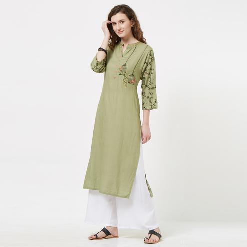 Ravishing Olive Green Colored Partywear Embroidered Cotton Kurti