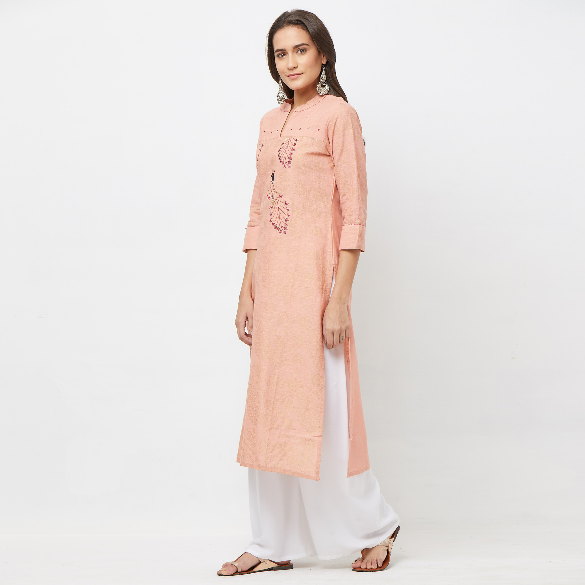 Stunning Peach Colored Partywear Embroidered Cotton Kurti