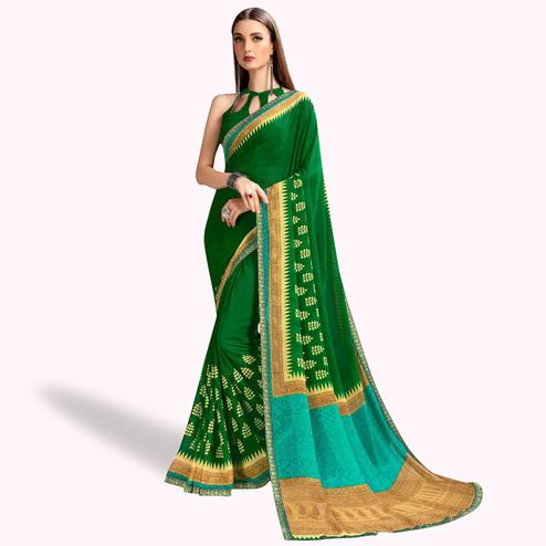 Trendy Dark Green Colored Casual Printed Georgette Saree