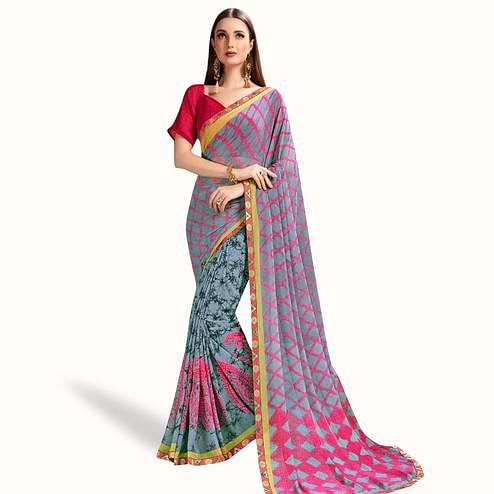 Elegant Slate Gray Colored Casual Printed Georgette Saree