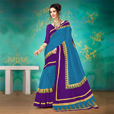 Blue Festive Wear Bhagalpuri Cotton Saree
