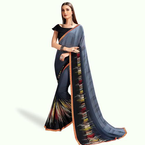 Radiant Shaded Gray Colored Casual Printed Georgette Saree