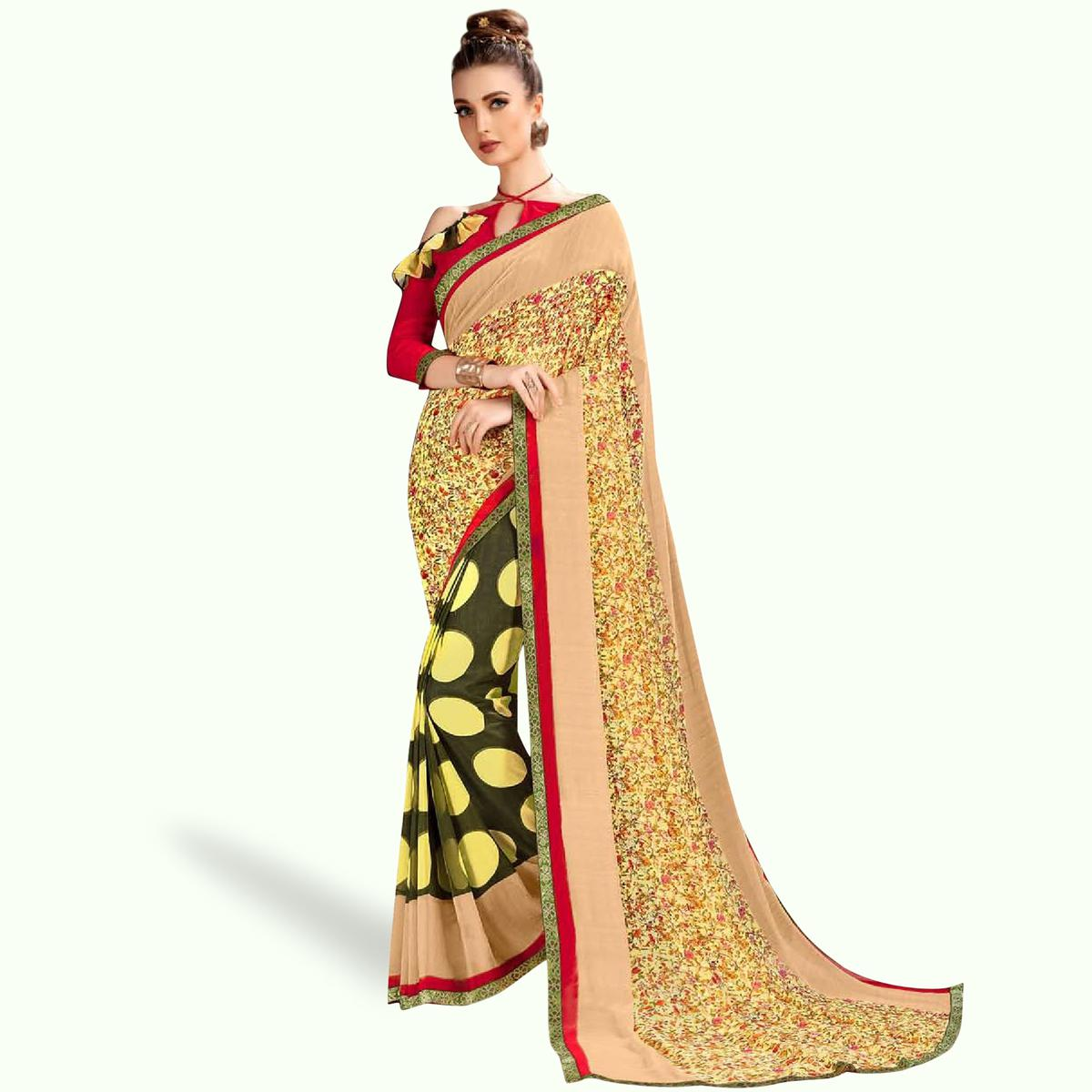 Pleasant Yellow-Green Colored Casual Printed Georgette Saree