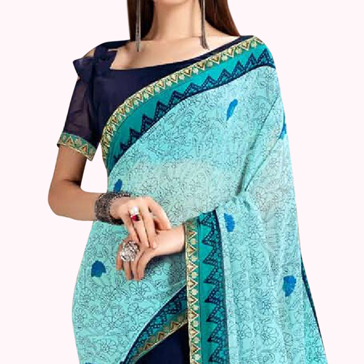 Opulent Cyan-Navy Blue Colored Casual Printed Georgette Saree
