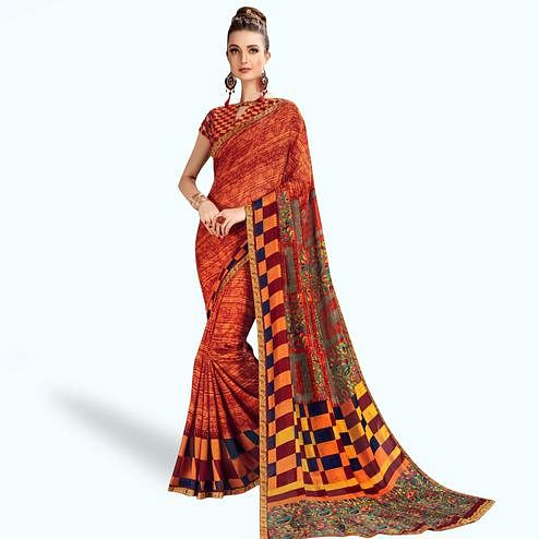 Energetic Orange Colored Casual Printed Georgette Saree