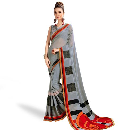 Classy Gray Colored Casual Printed Georgette Saree