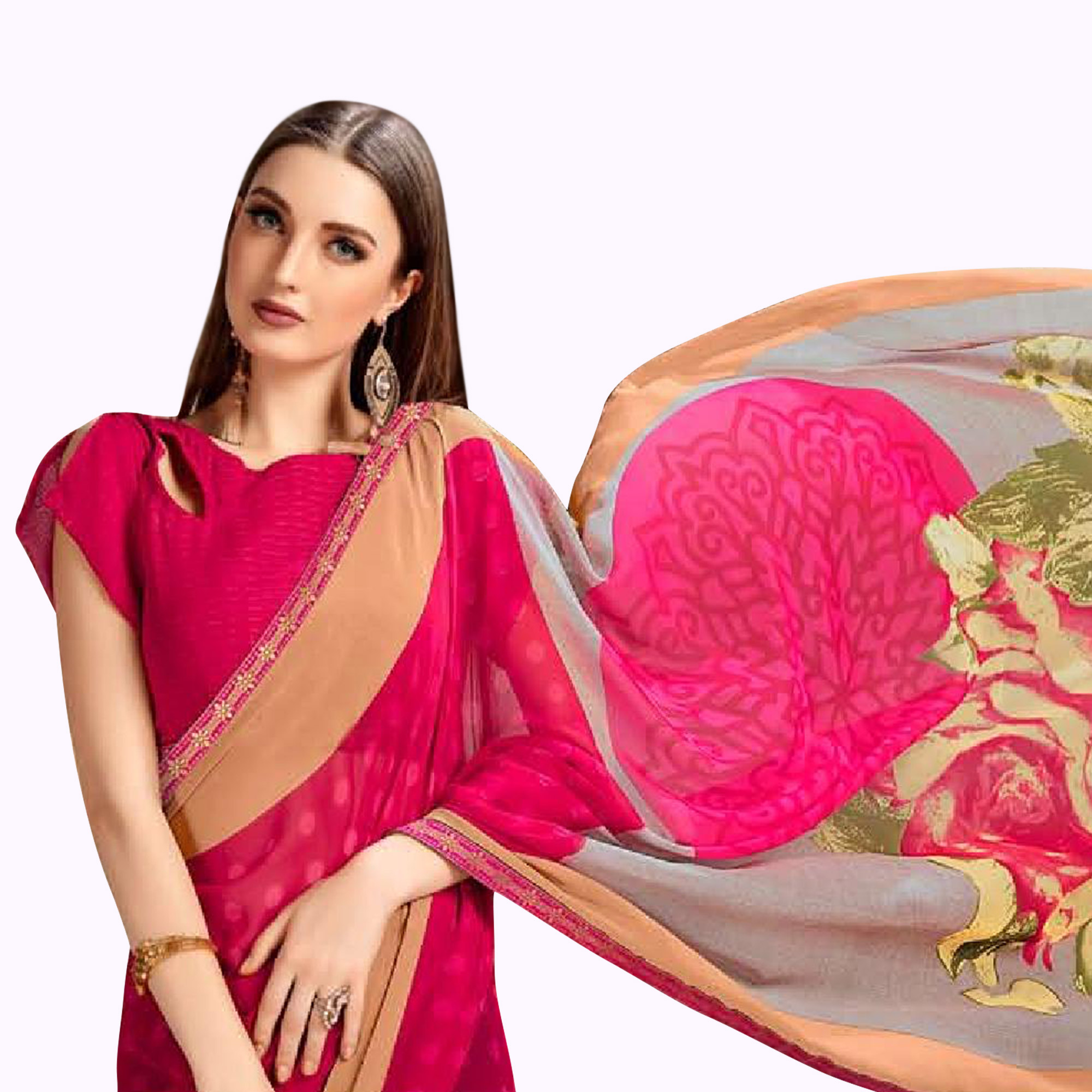 Gleaming Deep Pink Colored Casual Printed Georgette Saree