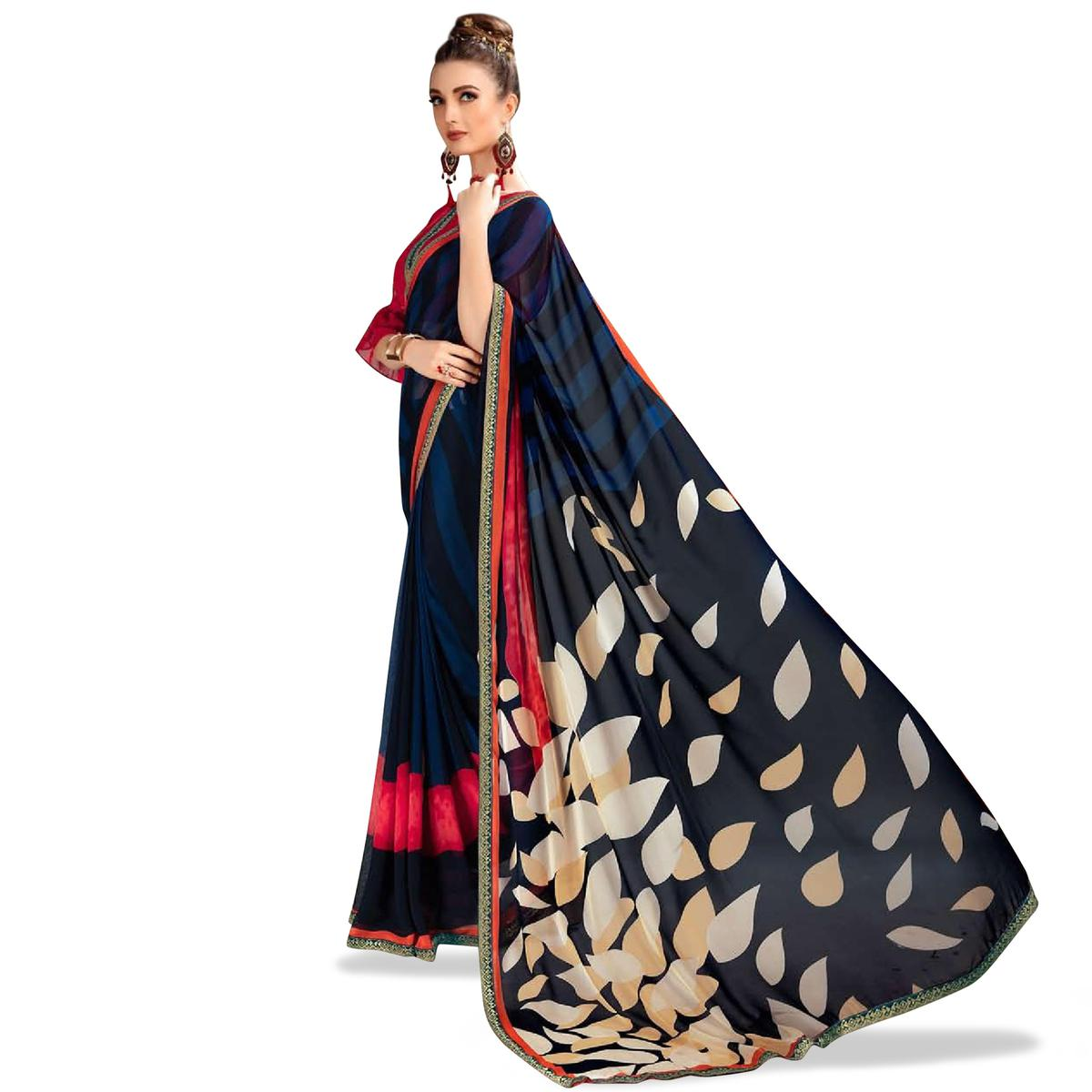 Mesmeric Dark Navy Blue Colored Casual Printed Georgette Saree
