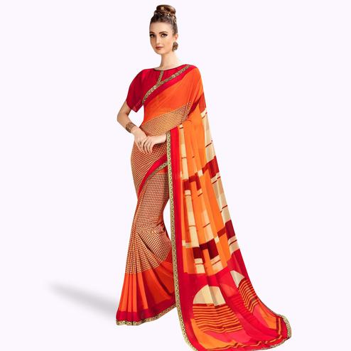 Unique Cream-Orange Colored Casual Printed Georgette Saree