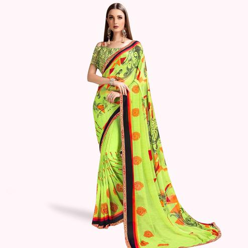 Groovy Green Colored Casual Printed Georgette Saree