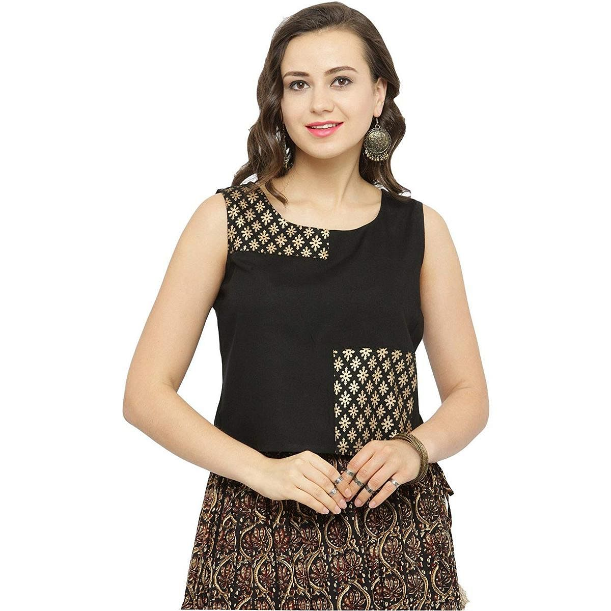 Radiant Black Colored Casual Printed Rayon Top