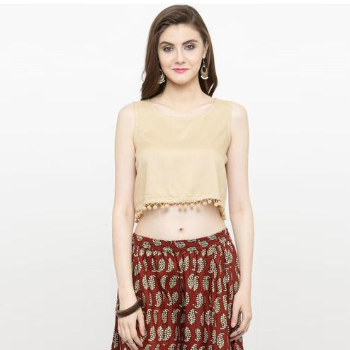 Classy Beige Colored Casual Rayon Top
