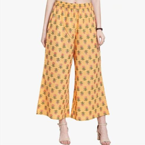 Glowing Yellow Colored Casual Printed Cotton Palazzo