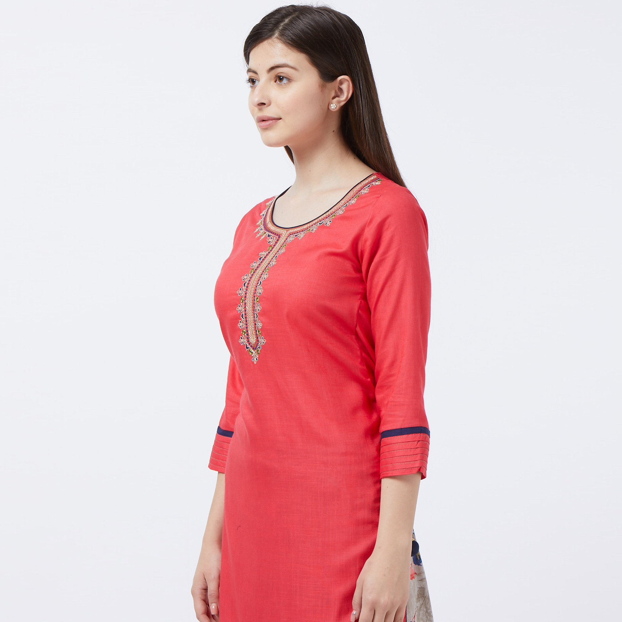 Adorable Pink Colored Partywear Embroidered Cotton Garara Suit