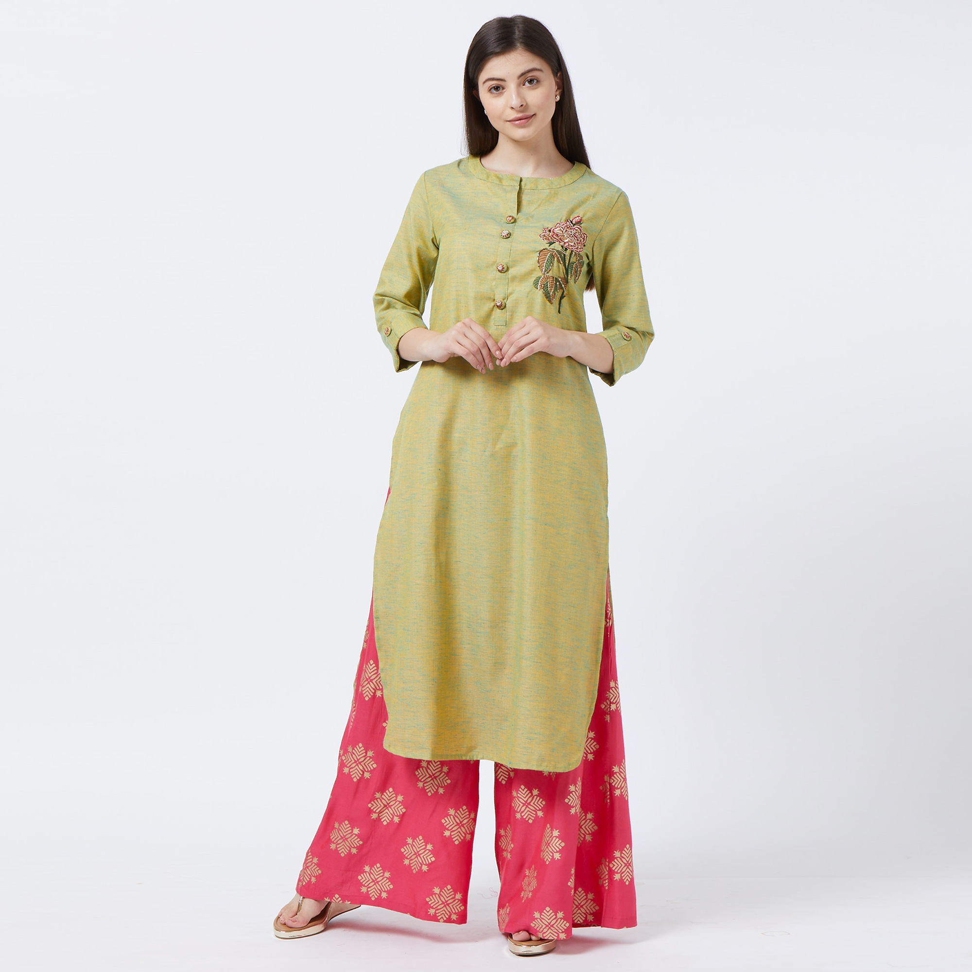 Attractive Green Colored Partywear Embroidered Cotton Palazzo Suit
