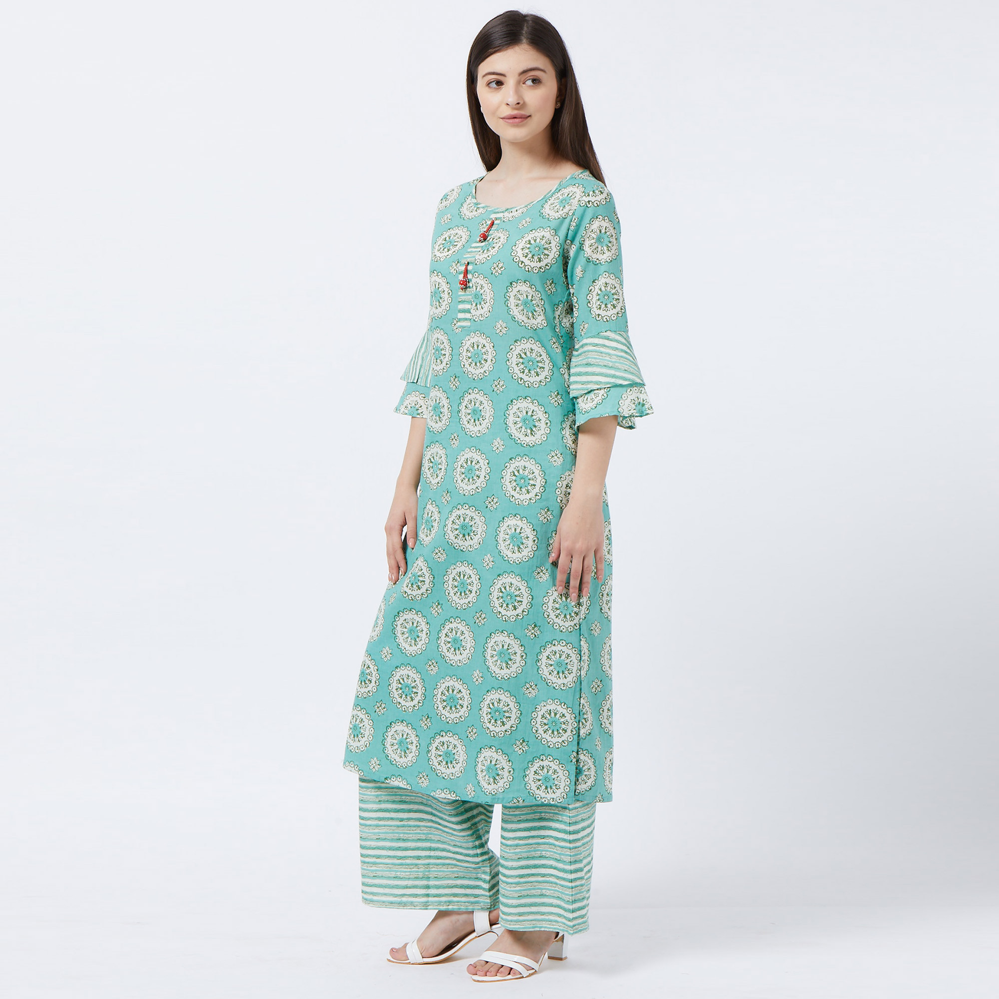 Graceful Light Green Colored Partywear Printed Cotton Palazzo Suit
