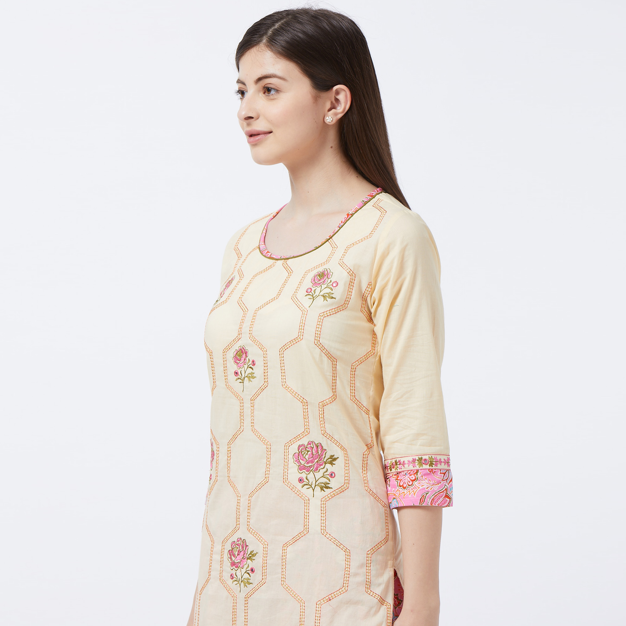 Blooming Cream Colored Partywear Embroidered Cotton Palazzo Suit