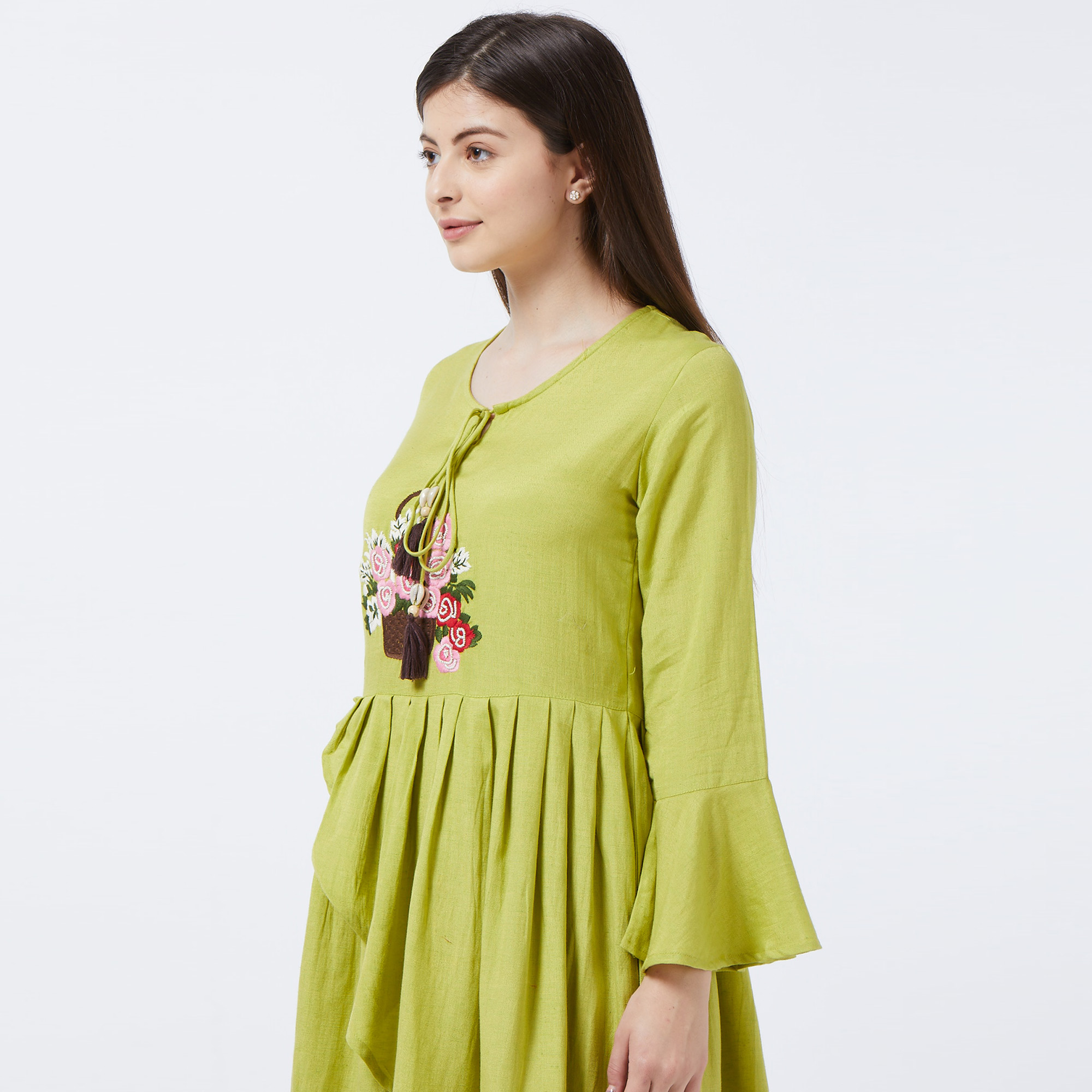 Delightful Green Colored Partywear Embroidered Bell Sleeves Rayon Kurti And Dhoti Set