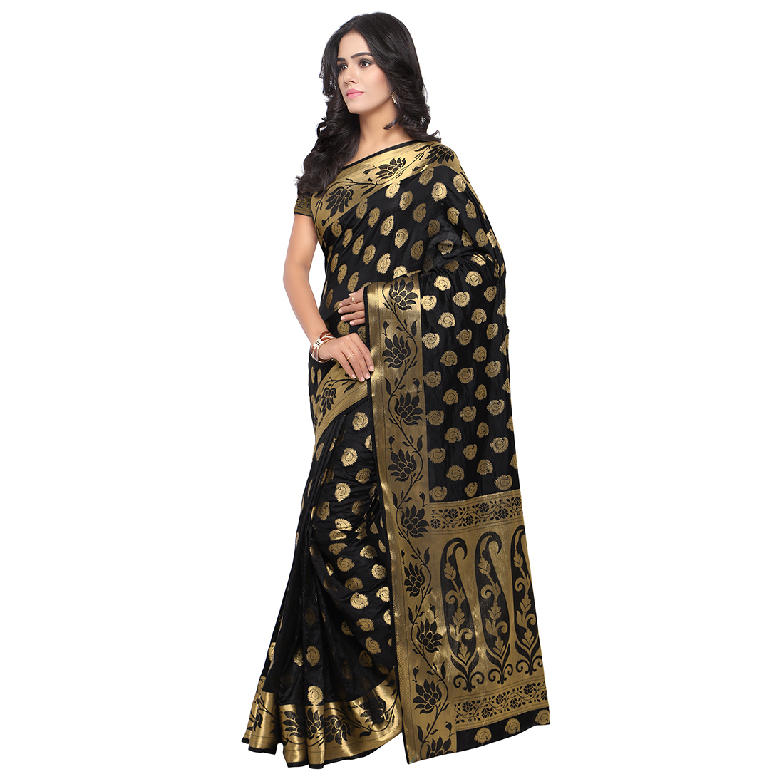 Black Festive Wear Art Silk Saree