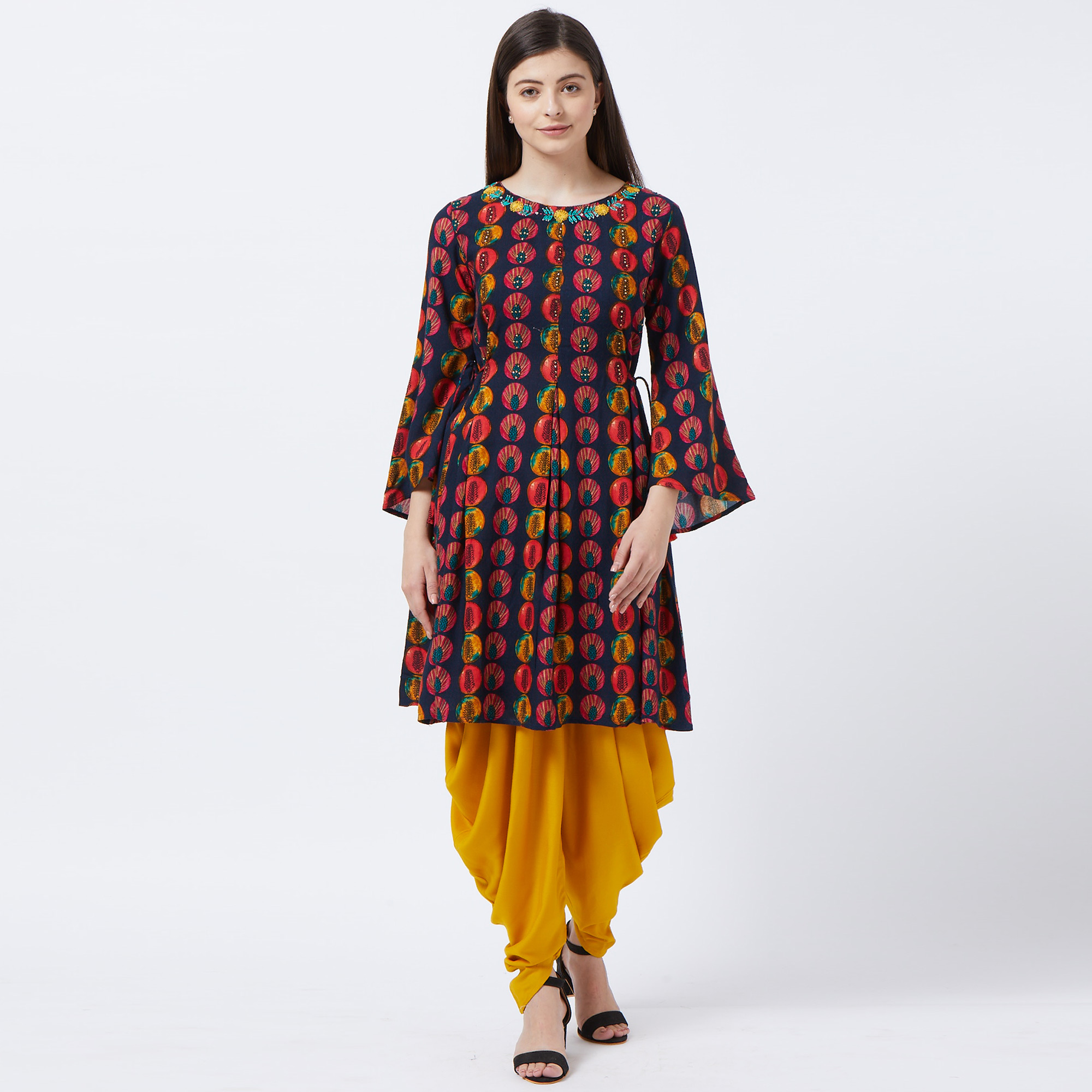 Engrossing Navy Blue Colored Partywear Embroidered Rayon Kurti And Dhoti Set