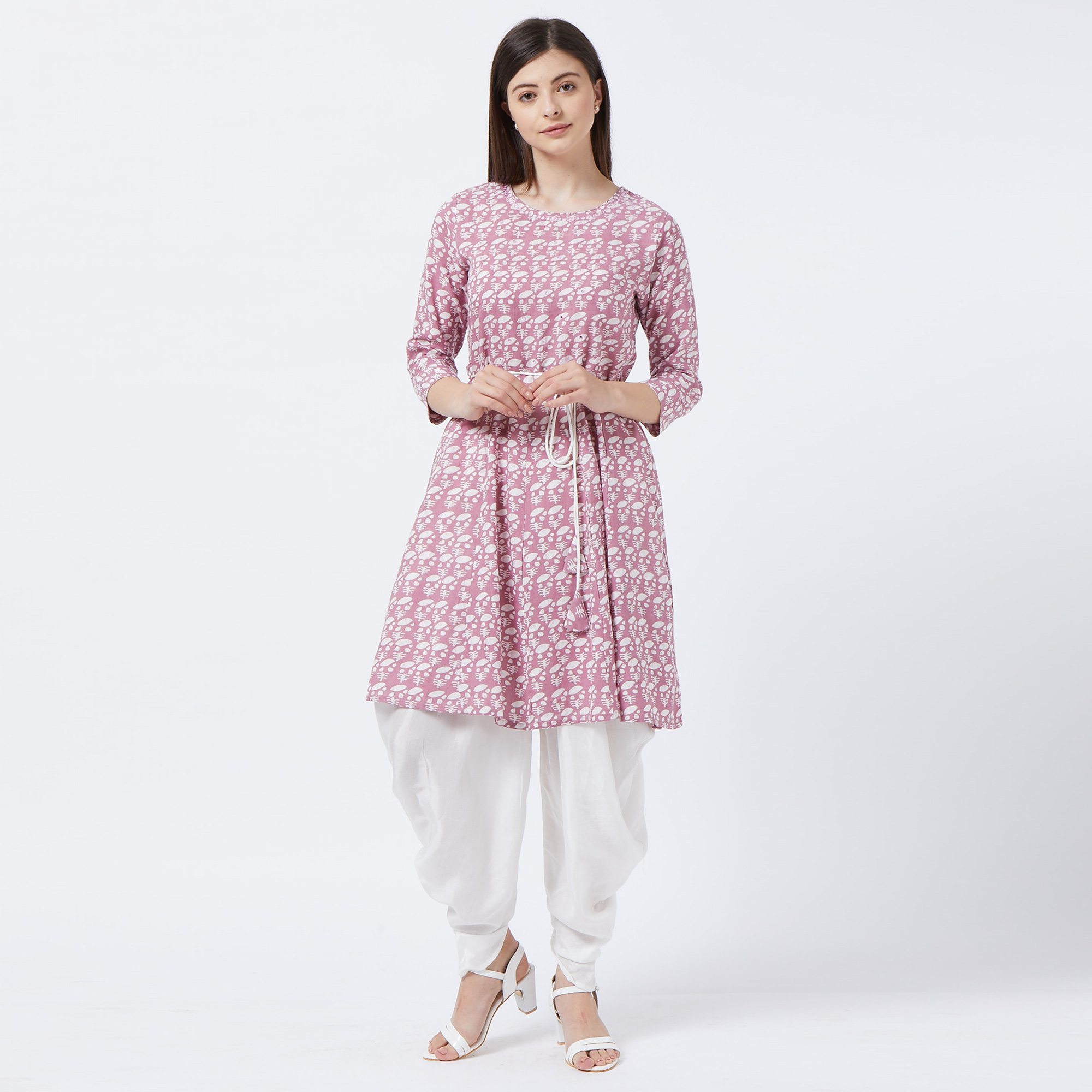 Captivating Mauve Colored Partywear Printed Cotton Kurti And Dhoti Set