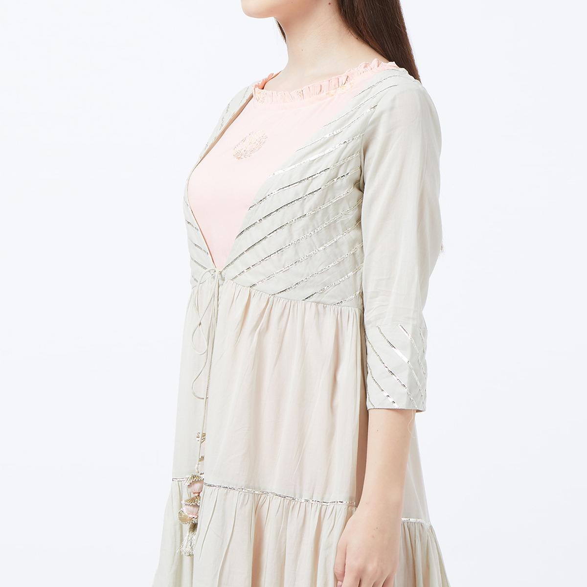 Innovative Gray-Pink Colored Partywear Embroidered Rayon-Cotton Long Kurti With Jacket