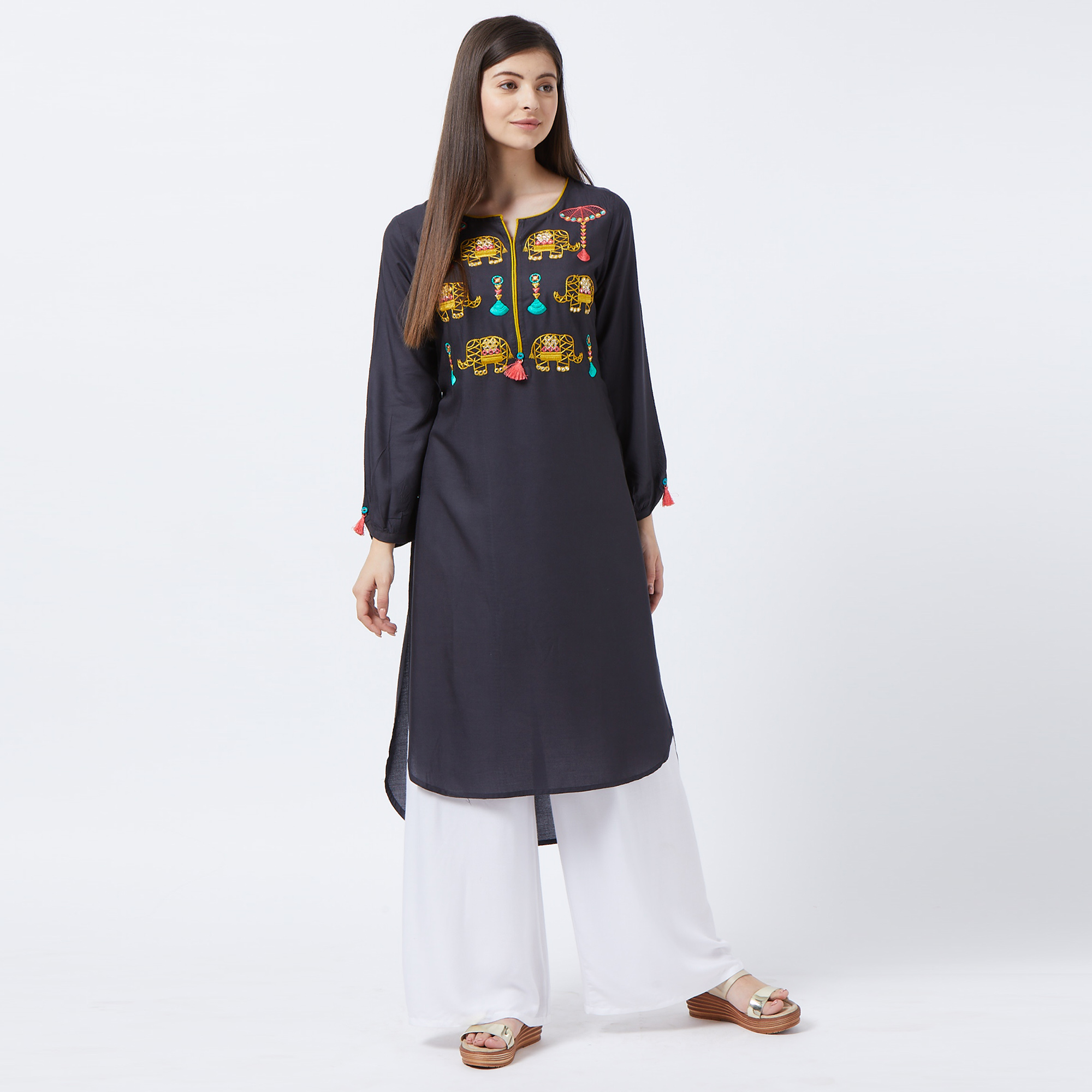 Eye-catching Black Colored Partywear Embroidered Rayon Long Kurti